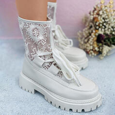 Women's Lace PU Flat Heel Pumps Boots Round Toe With Lace-up Solid Color Breathable Embroidery shoes