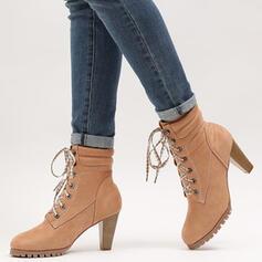 Vrouwen PU Chunky Heel Half-Kuit Laarzen Ronde neus met Vastrijgen schoenen