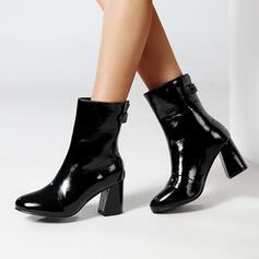 Vrouwen PU Chunky Heel Half-Kuit Laarzen Ronde neus met Klinknagel Rits schoenen