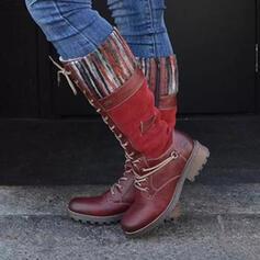 Vrouwen PU Chunky Heel Knie Lengte Laarzen Rijlaarzen Ronde neus met Rits Vastrijgen Las kleur schoenen