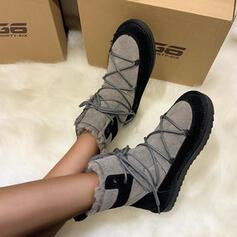 Women's Suede Flat Heel Round Toe Winter Boots shoes