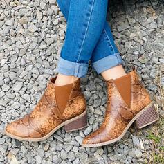 Vrouwen Kunstleer Chunky Heel Ronde neus met Dier Afdrukken schoenen