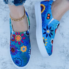 Women's Cloth Flat Heel Flats Low Top Round Toe Espadrille Slip On With Satin Flower shoes
