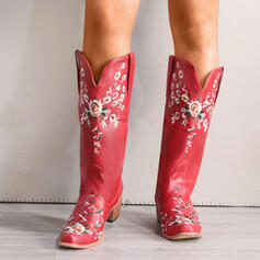 Women's PU Chunky Heel Boots Mid-Calf Boots With Floral Embroidery shoes