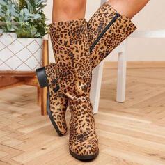 Vrouwen PU Chunky Heel Knie Lengte Laarzen Ronde neus met Dier Afdrukken Rits schoenen