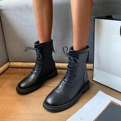 Vrouwen PU Flat Heel Half-Kuit Laarzen Martin Boots Ronde neus met Vastrijgen Effen kleur schoenen