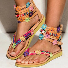 Leatherette Flat Heel Sandals Flats Peep Toe Flip-Flops With Flower Others shoes