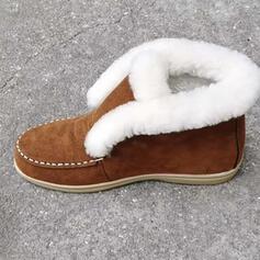 Vrouwen Suede Flat Heel Laarzen Enkel Laarzen Ronde neus met Feather Kant schoenen