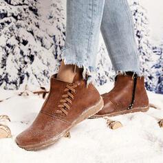 Vrouwen PU Flat Heel Enkel Laarzen Ronde neus met Vastrijgen schoenen