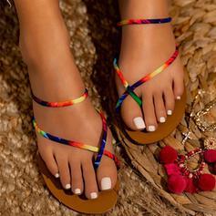 Vrouwen PU Flat Heel Sandalen Peep Toe met Las kleur schoenen