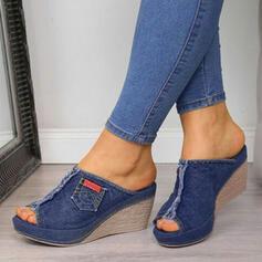 Women's Denim Wedge Heel Sandals Wedges Peep Toe Slippers Heels With Split Joint shoes