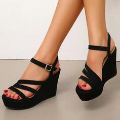 Women's Suede Wedge Heel Sandals Wedges With Buckle shoes
