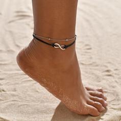 Eenvoudig Oneindigheid Legering Touw uit Leder Strand sieraden Enkelbanden (Set van 2)