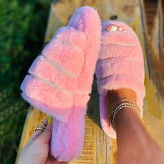 Vrouwen Fluwelen Flat Heel Peep Toe Slippers met Bont schoenen