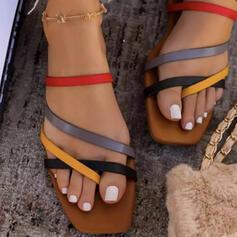 Women's PU Flat Heel Sandals Flats Peep Toe Slippers Toe Ring Round Toe With Crisscross shoes