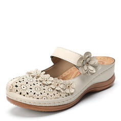 Women's Leatherette Flat Heel Sandals Slippers With Hollow-out Flower shoes