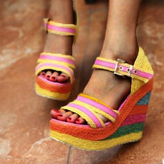 Women's Leatherette Wedge Heel Sandals Platform Wedges Peep Toe Heels With Buckle Hollow-out Splice Color shoes