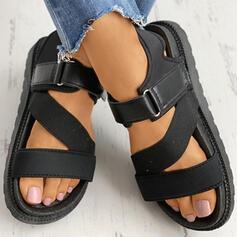 Vrouwen PU Flat Heel Sandalen Peep Toe met Gesp Velcro schoenen