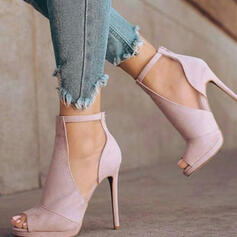 Women's Suede Stiletto Heel Sandals Pumps Peep Toe With Solid Color shoes