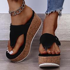 Women's Suede Wedge Heel Sandals Platform Wedges Flip-Flops Slippers With Solid Color shoes