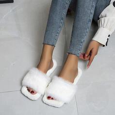 Vrouwen Fluwelen Flat Heel Peep Toe met Bont schoenen