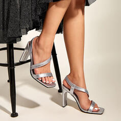 Women's PU Chunky Heel Pumps Peep Toe Square Toe With Hollow-out Bandage shoes
