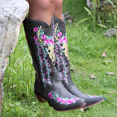 Women's PU Chunky Heel Boots Mid-Calf Boots Pointed Toe With Animal Print Floral Embroidery shoes