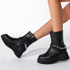 Women's PU Wedge Heel Boots Martin Boots Round Toe With Zipper Chain Solid Color shoes