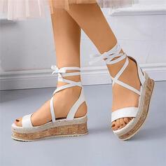 Vrouwen PU Wedge Heel Sandalen Flats Peep Toe met Vastrijgen Hol-out schoenen