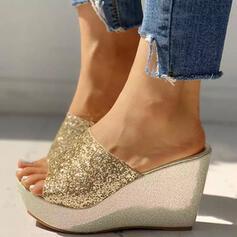 Vrouwen PU Wedge Heel Sandalen Wedges met Lovertje Sprankelende Glitter schoenen