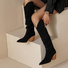 Women's Suede Chunky Heel Boots Mid-Calf Boots Winter Boots With Houndstooth shoes