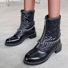 Vrouwen PU Low Heel Half-Kuit Laarzen Ronde neus met Rits Effen kleur schoenen