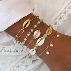 Stijlvol Aantrekkelijk Legering met Imitatie Parel Schelp Sieraden Sets Armbanden Strand sieraden (Set van 5 paren)