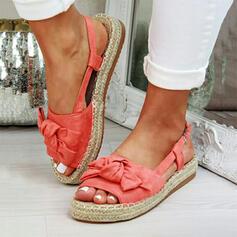 Vrouwen Suede Flat Heel Sandalen Plateau Peep Toe met strik schoenen