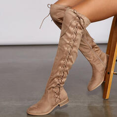Women's Suede Low Heel Over The Knee Boots Riding Boots Round Toe With Ruched Lace-up Solid Color shoes