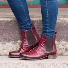 Vrouwen PU Chunky Heel Martin Boots Ronde neus met Las kleur schoenen