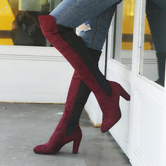 Women's PU Chunky Heel Over The Knee Boots With Zipper shoes