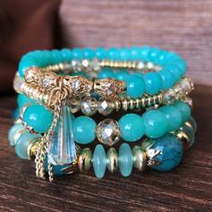 Uniek Elegant Kwasten Ontwerp Legering Kristal Glazen Kralen met Imitatie Kristal Acryl Vrouwen Armbanden 4 STUKS