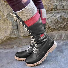 Vrouwen PU Low Heel Knie Lengte Laarzen Snowboots Rijlaarzen Ronde neus met Vastrijgen Las kleur schoenen