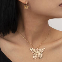 Fashionable Vintage Simple Alloy With Butterfly Women's Ladies' Necklaces Earrings 2 PCS