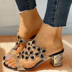 Women's PU Chunky Heel Sandals Flats Peep Toe Slippers With Rhinestone shoes