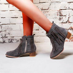 Vrouwen Kunstleer Chunky Heel Enkel Laarzen Puntige teen met Effen kleur schoenen