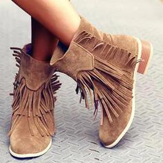 Vrouwen Suede PU Low Heel Half-Kuit Laarzen Ronde neus met Tassel Effen kleur schoenen