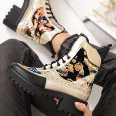 Vrouwen PU Chunky Heel Martin Boots Ronde neus met Lovertje Gesp Vastrijgen Las kleur schoenen
