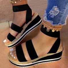Women's Leatherette Wedge Heel Sandals Platform Wedges Peep Toe With Split Joint Solid Color shoes