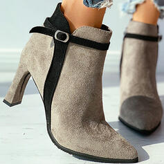 Women's Suede Spool Heel Ankle Boots Pointed Toe With Velcro Braided Strap Solid Color shoes