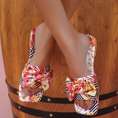Women's Cloth Flat Heel Sandals Slippers With Floral Print shoes
