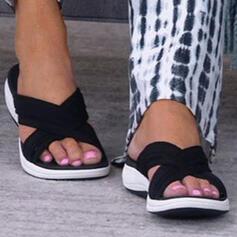 Women's Mesh Flat Heel Sandals Flats Peep Toe Slippers Round Toe With Crisscross shoes