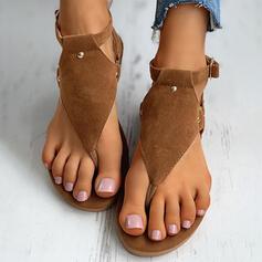 Vrouwen Suede Flat Heel Sandalen Flip Flops Slippers met Gesp Bloem schoenen