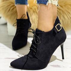 Vrouwen Suede Chunky Heel Enkel Laarzen Hakken Puntige teen met Vastrijgen Gesplitste Stof schoenen